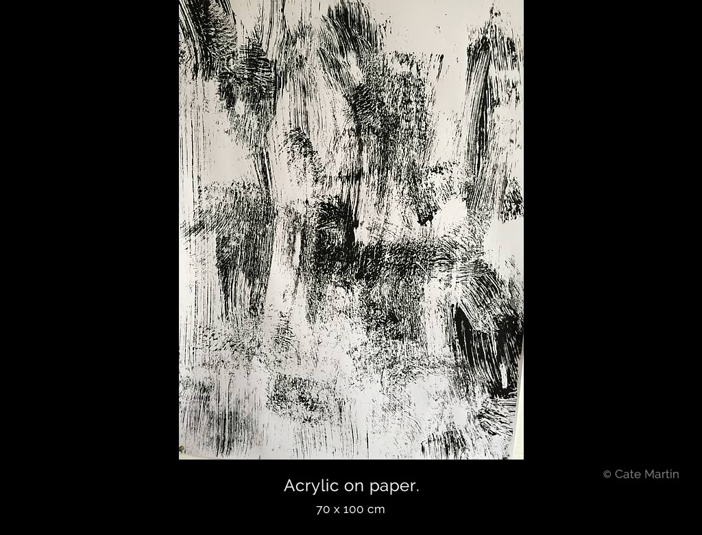 Abstract painting 3 by Cate Martin. A non-figural black-and-white painting.