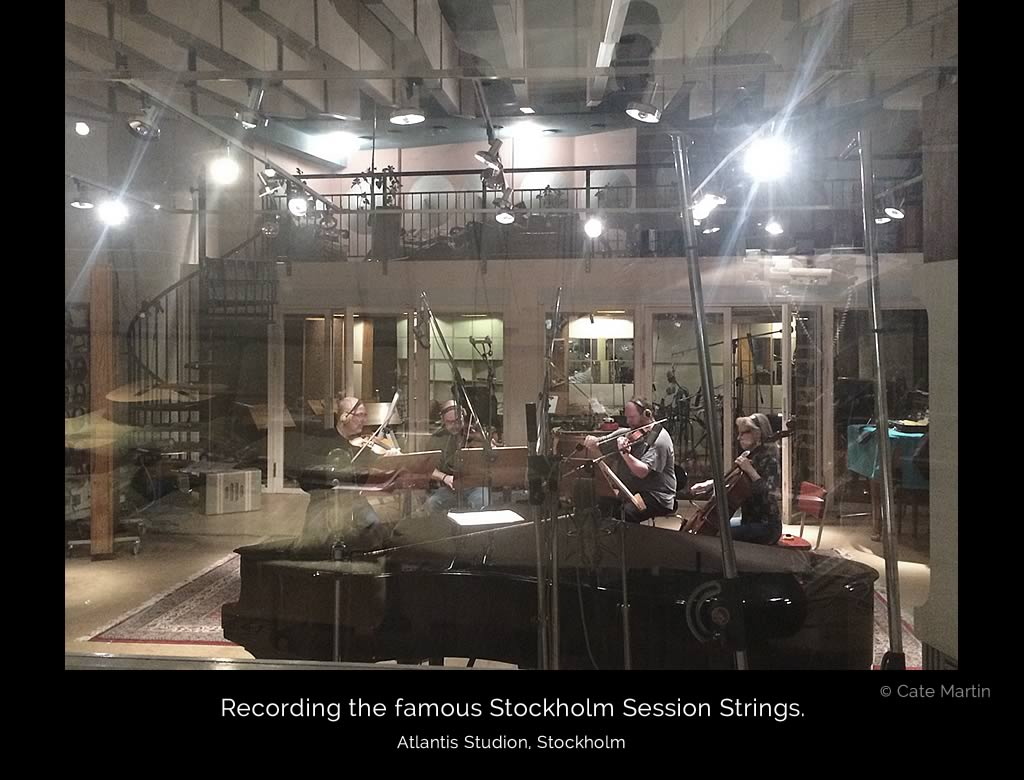 The huge recording room at Atlantis Studio, Stockholm (where the first ABBA albums were produced) is brightly illuminated while the famous Stockholm Session Strings are recording their parts for the album Young And Pretty by Ivy Flindt.