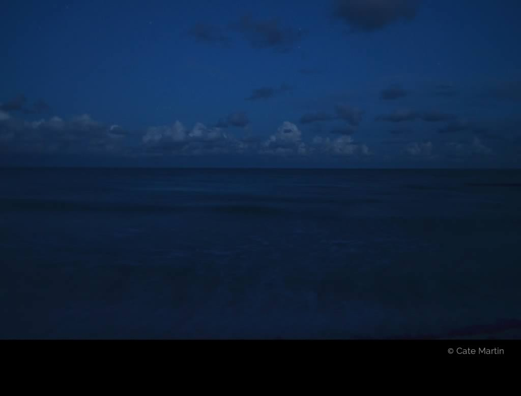 Ocean at night by Cate Martin. The colour photo shows the ocean at night.