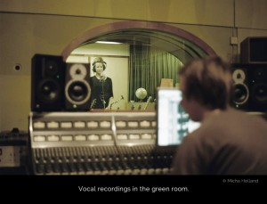 Cate Martin tracking vocals for the album Young and Pretty in the Green Room at Tambourine studios, Malmö. Recording engineer Fredrik Sunding is operating the Neve 8068 console in the foreground.